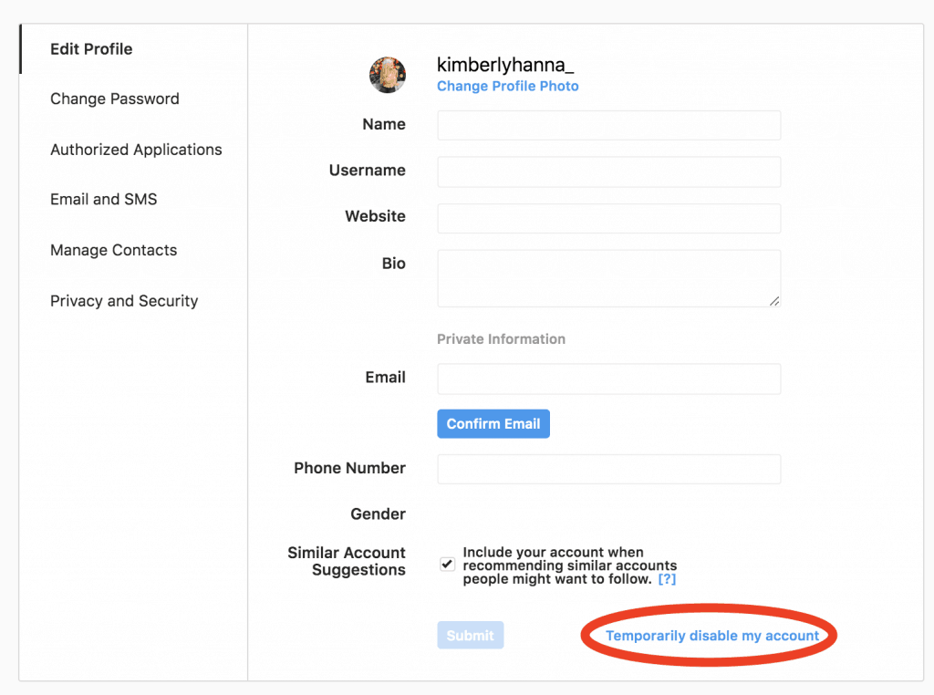 How to disable your Instagram account