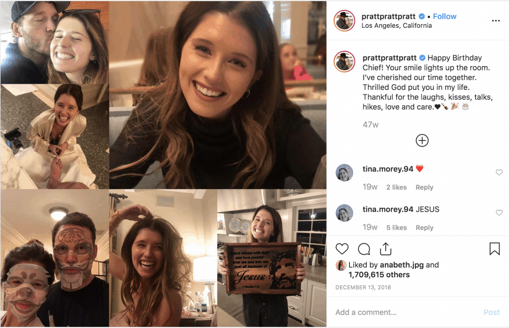 Chris Pratt & Katherine Schwarzenegger Instagram photo collage