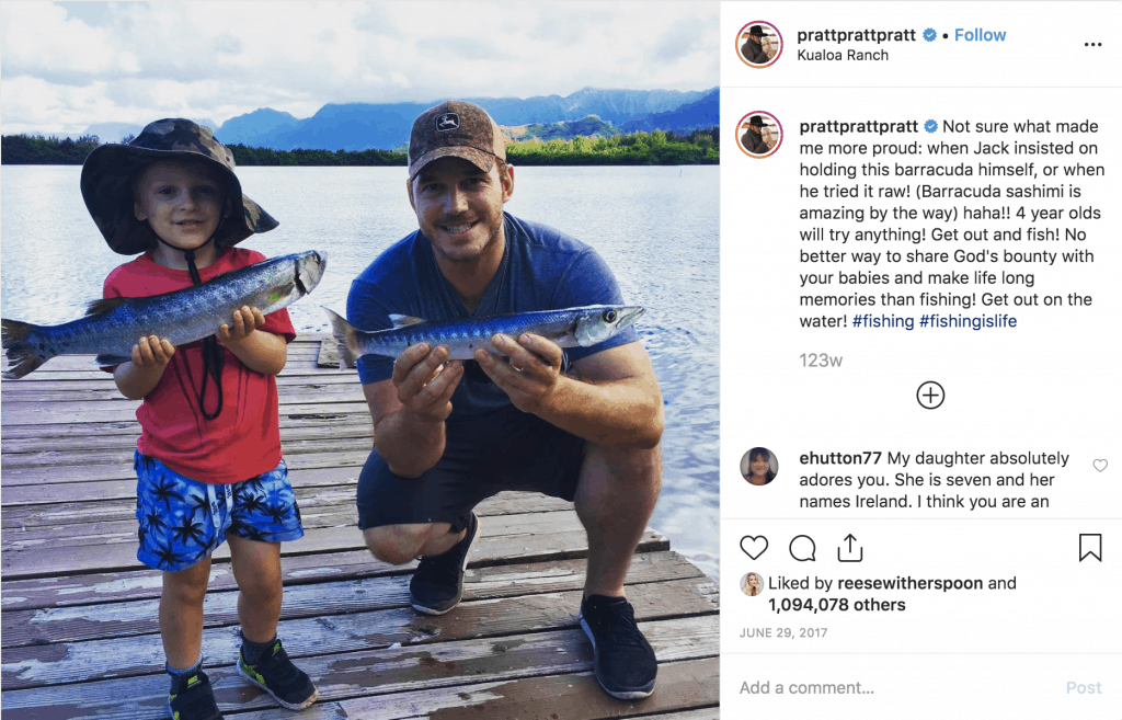 Chris Pratt fishing with his son at Kualoa Ranch, Hawaii