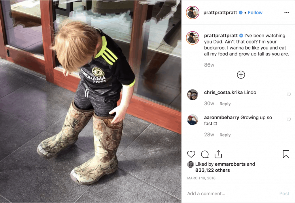 Chris Pratt shares a photo of his son on Instagram