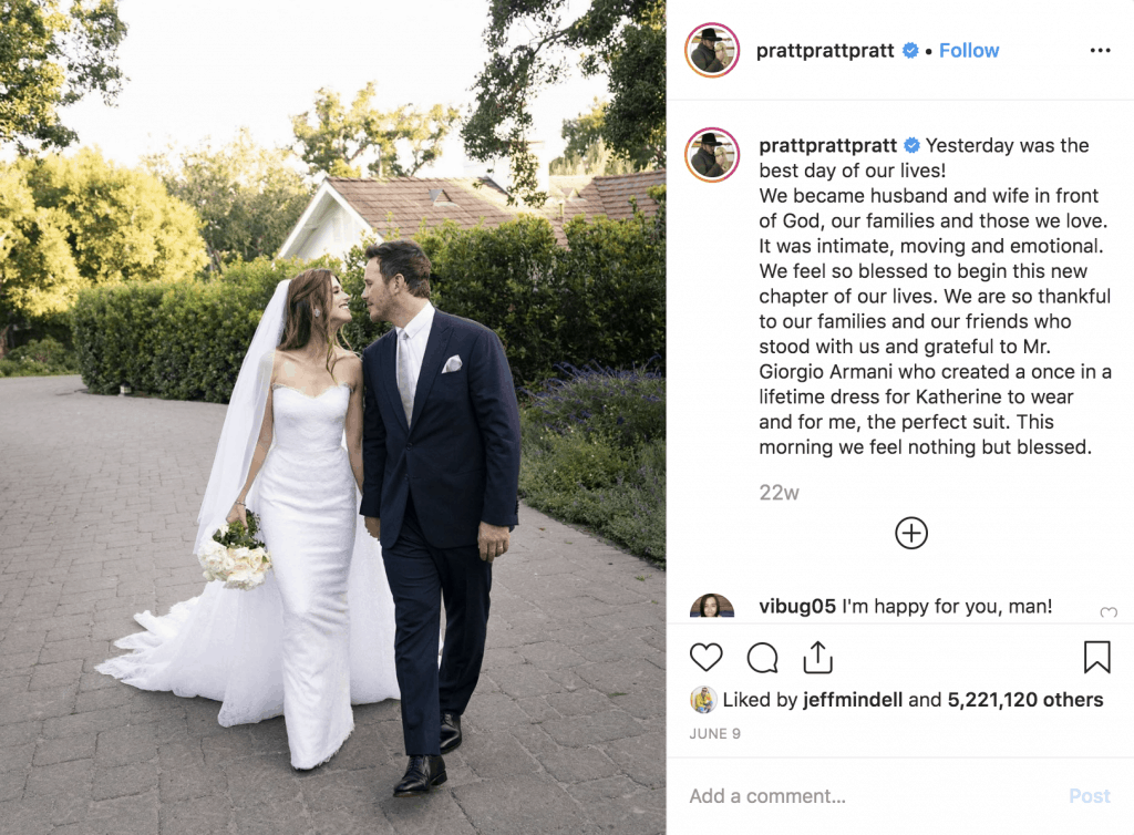 Chris Pratt and Katherine Schwarzenegger Wedding