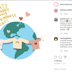 drawing of the world with a message of kindness over it