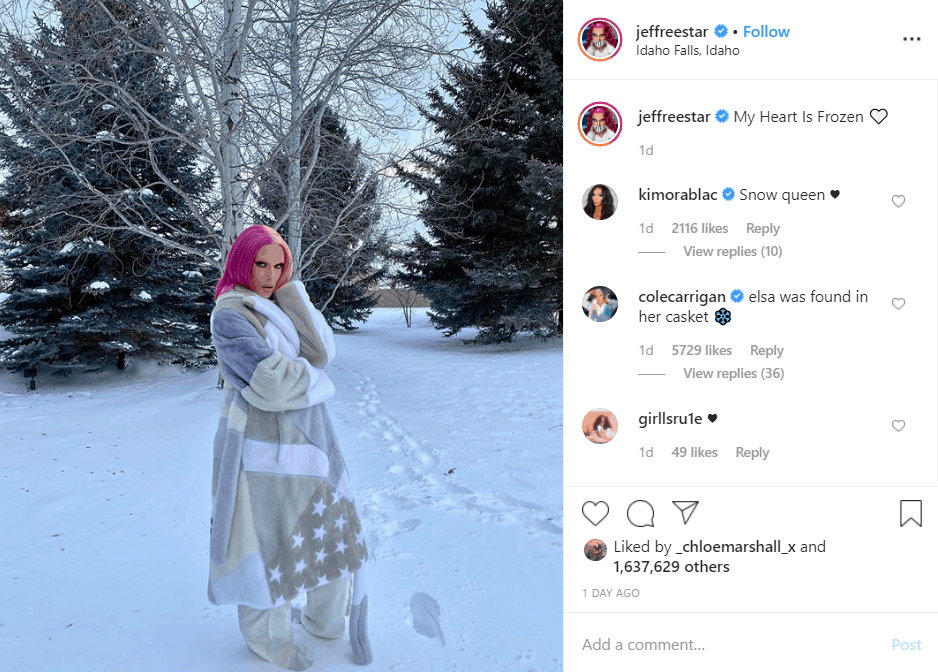Jeffree Star In Pyjamas Standing In Snow
