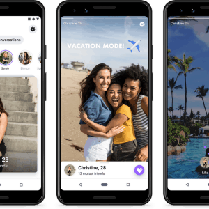 3 phone screens showing Instagram stories being used on Facebook Dating