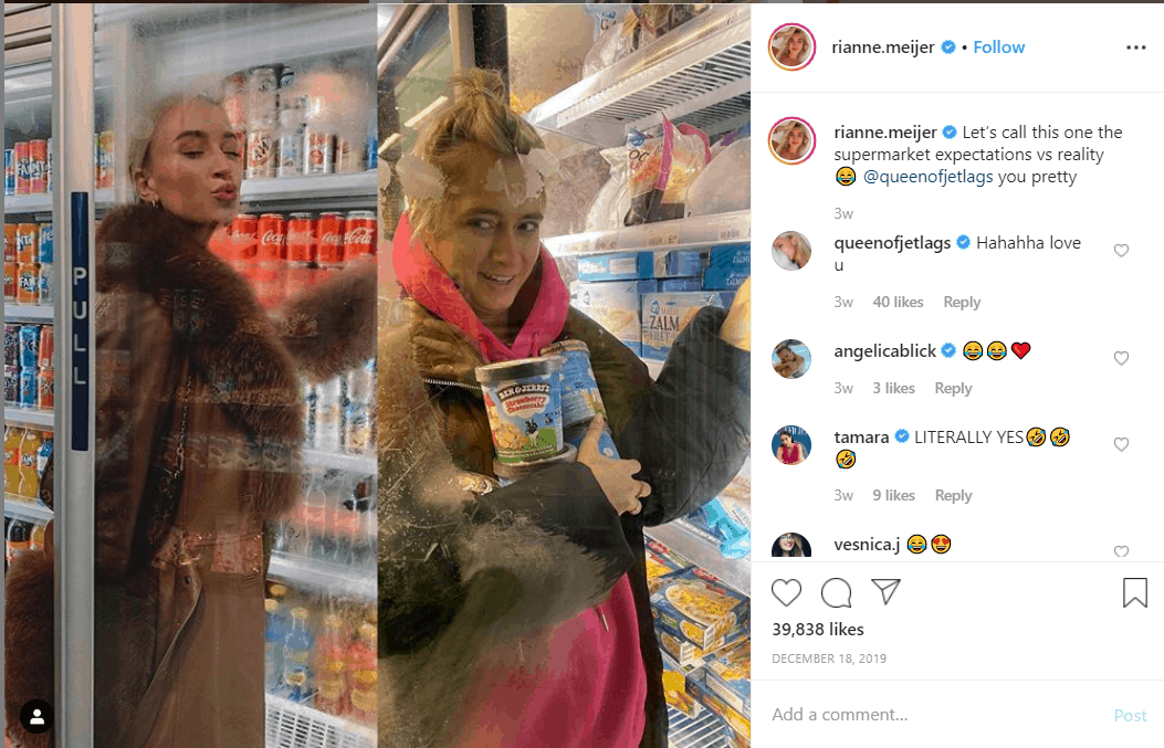 Girl picking out a drink from the fridge section of supermarket in perfect hair, makeup and clothes next to a girl stocking up on Ice cream with hair in messy bun and oversized jacket