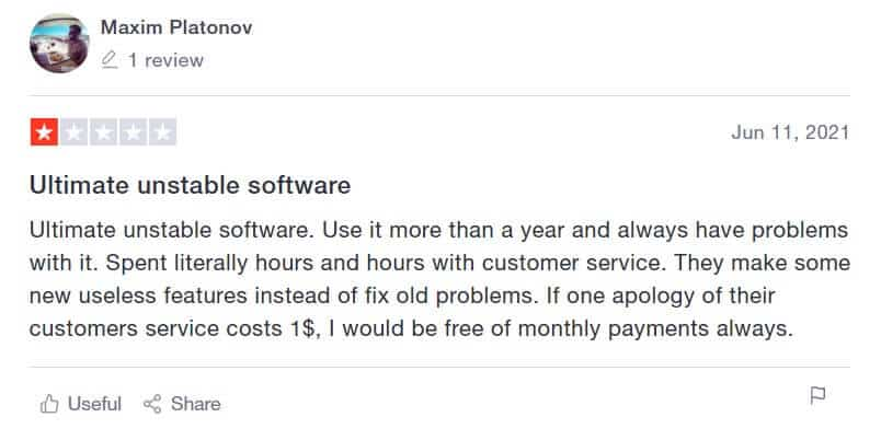 An image of a negative Meet Alfred review on Trustpilot.