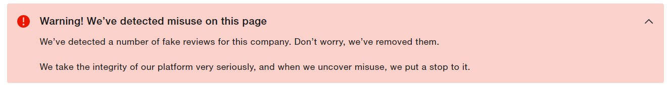 An image of a warning that pops up on Meet Alfred's Trustpilot page.