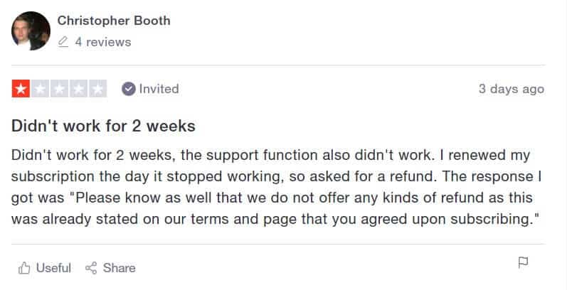 A Meet Alfred review that mentions their no refund policy.