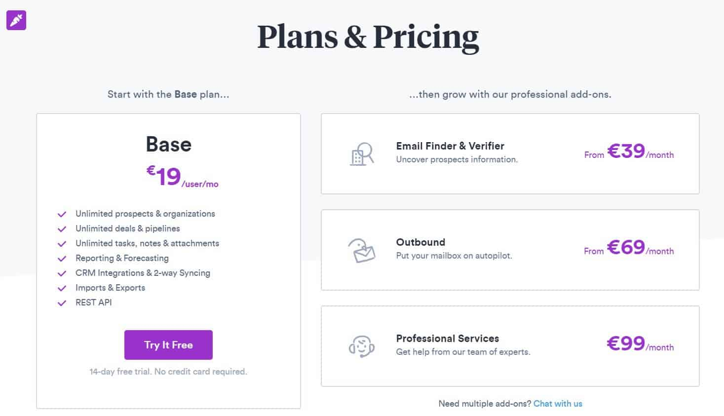 A picture showing Prospect.io's prices.