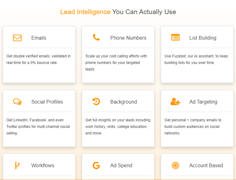 A screenshot showing the services by leadfuze.
