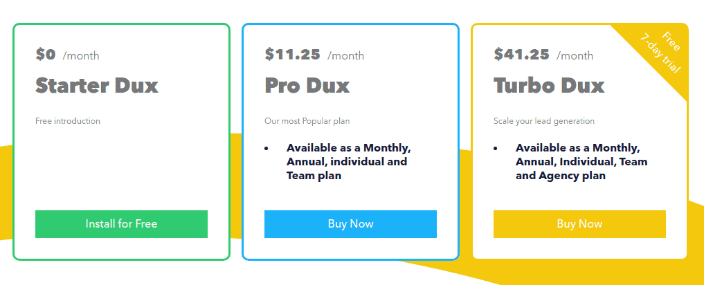 A screenshot depicting the prices of the packages displayed on the Dux-Soup's website.
