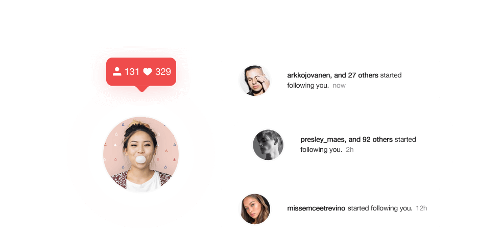 Upleap notifications illustrating an increase in followers on Instagram