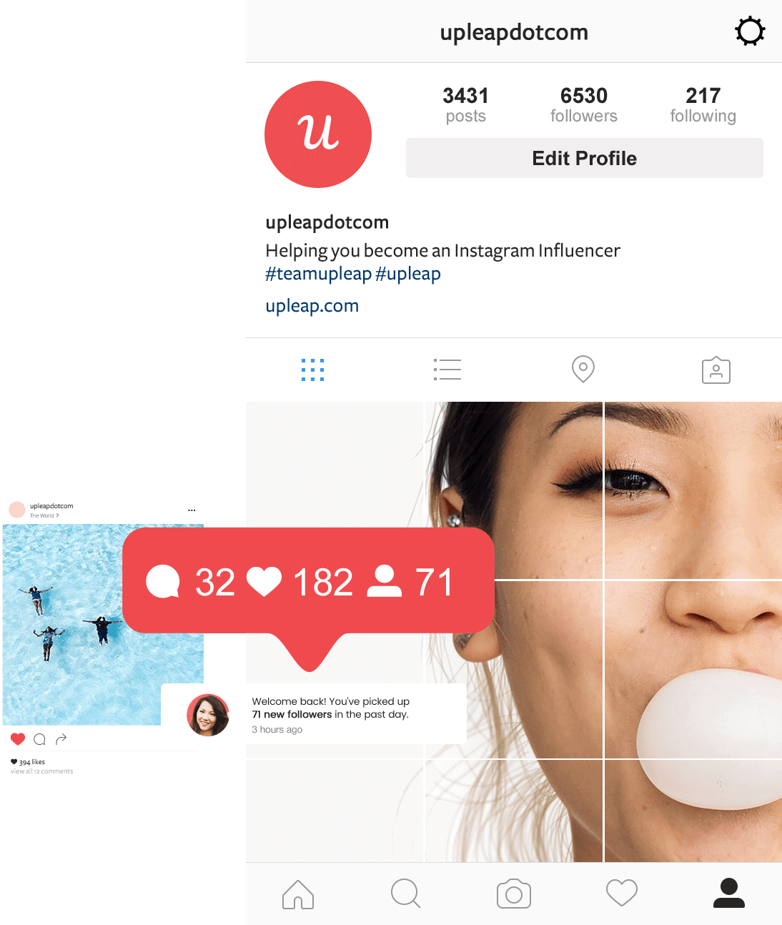 Upleap notifications showing how to increase your instagram followers