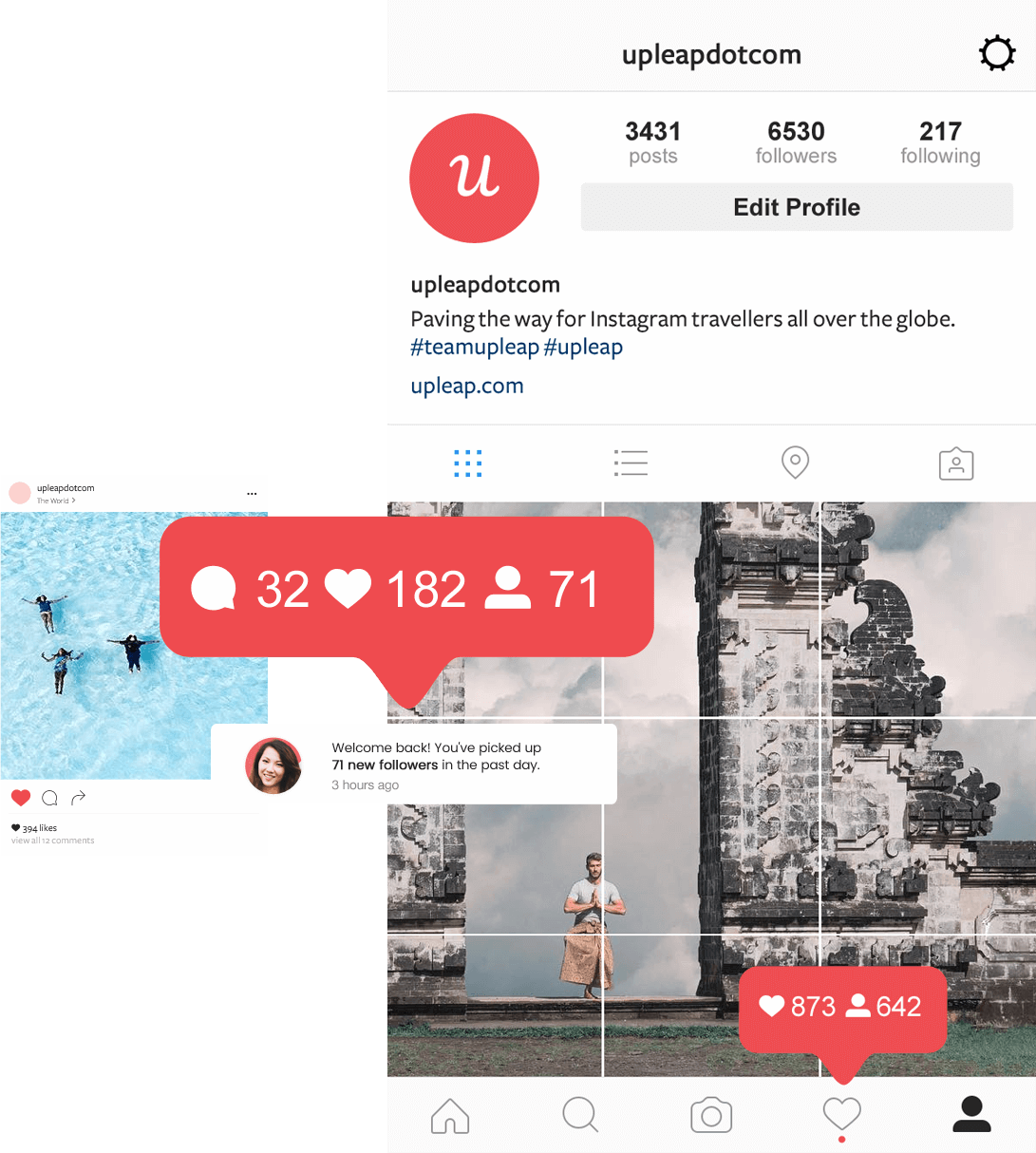 Upleap notifications showing how to get more instagram travel account followers